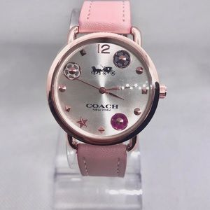 Authentic Coach Delancey Pink Leather Watch